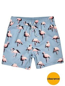 river-island-boys-aqua-flamingo-print-swim-shorts