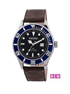 kahuna-kahuna-black-dial-blue-bezel-brown-leather-strap-mens-watch