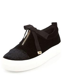 river-island-slip-on-zip-front-double-sole-plimsoll