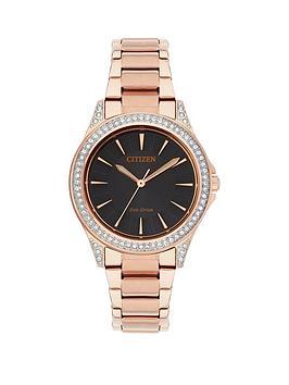 citizen-citizen-eco-drive-black-dial-swarovski-crystal-bezel-rose-tone-bracelet-ladies-watch