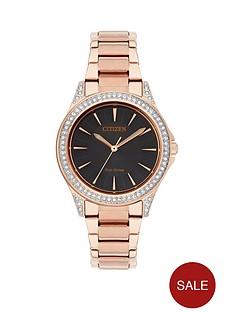 citizen-eco-drive-black-dial-swarovski-crystal-bezel-rose-tone-bracelet-ladies-watch