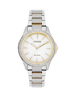 citizen-eco-drive-white-dial-swarovski-crystal-bezel-two-tone-bracelet-ladies-watch