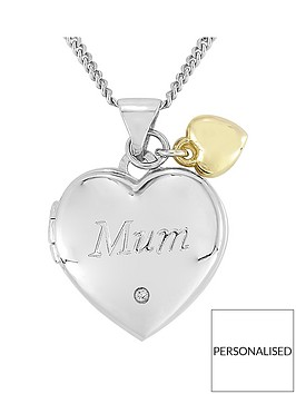 keepsafe-keepsafe-sterling-silver-039mum039-locket-with-9ct-gold-heart-charm-set-with-a-diamond