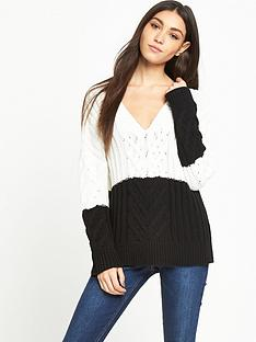 lost-ink-colour-block-v-neck-jumper