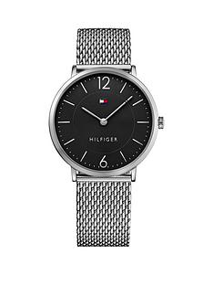 tommy-hilfiger-tommy-hilfiger-black-dial-stainless-steel-mesh-bracelet-mens-watch
