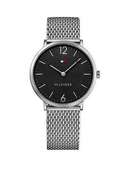 tommy-hilfiger-tommy-hilfiger-black-dial-stainless-steel-mesh-bracelet-mens-watch