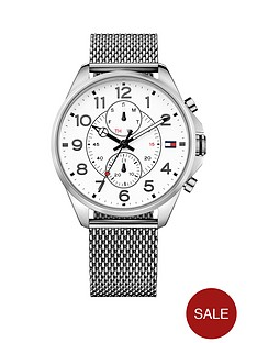 tommy-hilfiger-tommy-hilfiger-white-dial-multifunction-dial-stainless-steel-mesh-bracelet-mens-watch