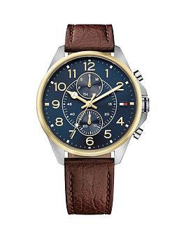 tommy-hilfiger-tommy-hilfiger-dean-blue-multidial-function-brown-leather-strap-mens-watch