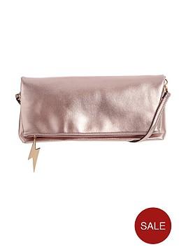 miss-selfridge-foldovernbspmetallic-clutch-pink