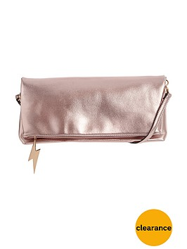 miss-selfridge-foldovernbspmetallic-clutch-pink