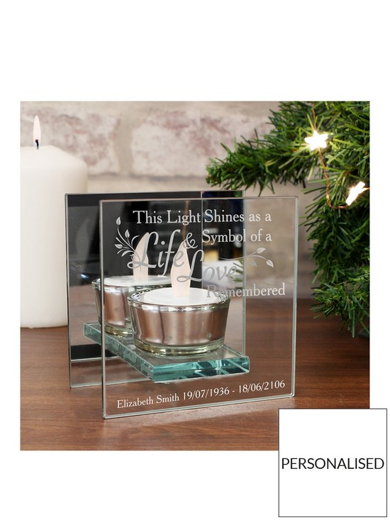 Personalised In Loving Memory Glass Tealight Holder