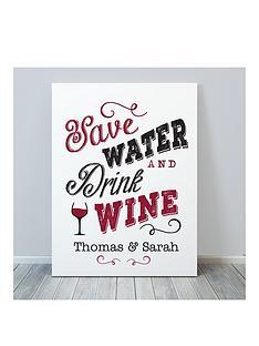 personalised-save-water-drink-wine-canvas