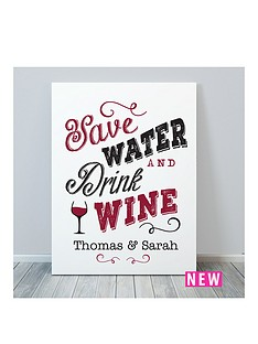 personalised-save-water-drink-wine-canvas