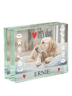 personalised-i-love-my-dog-glass-photo-block