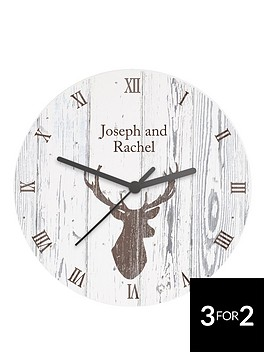 personalised-stag-wooden-clock