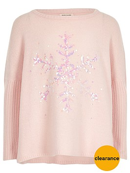 river-island-girls-pink-sequin-snowflake-christmas-jumper