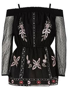 river-island-girls-black-embroidered-mesh-bardot-top