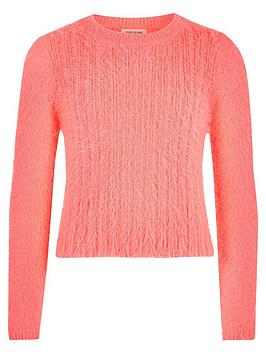 river-island-girls-coral-fluffy-knit-jumper