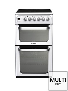 hotpoint-ultima-hue52psnbsp50cm-double-oven-electric-cooker-with-ceramic-hob--nbspwhite