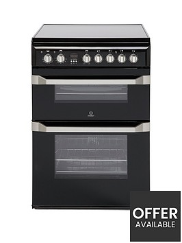 indesit-id60c2knbsp60cm-widenbspdouble-oven-electric-cooker-with-ceramic-hob-black