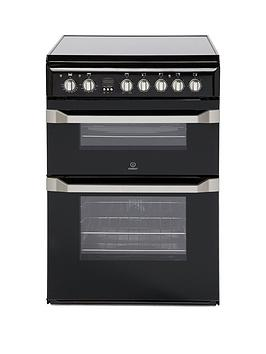 Indesit Id60C2K 60Cm Double Oven Electric Cooker With Ceramic Hob - Black Best Price, Cheapest Prices