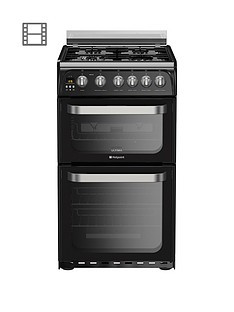 Hotpoint Ultima HUG52K 50cm Double Oven Gas Cooker with FSD - Black