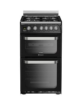 Hotpoint Ultima Hug52K 50Cm Double Oven Gas Cooker With Fsd - Black Review thumbnail