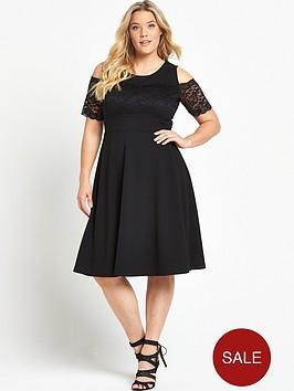 v-by-very-curve-lace-trim-bardot-skater-dress-black