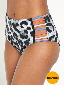 river-island-river-island-grey-leopard-print-cut-out-bikini-bottoms