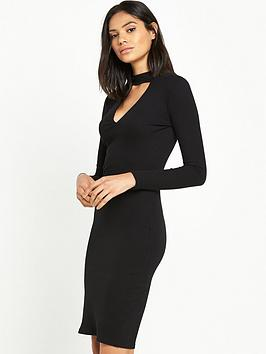 river-island-ribbed-choker-bodycon-dress