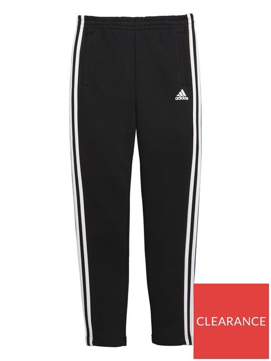 3664c761160c adidas Adidas Older Boys 3 Stripe slim leg fleece pant