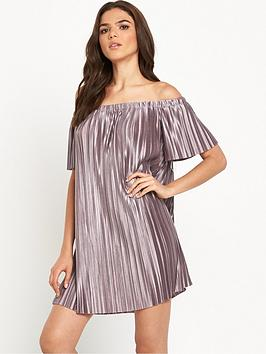 glamorous-bardot-pleated-swing-dress