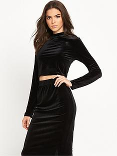 glamorous-velvet-high-neck-long-sleeve-top-black