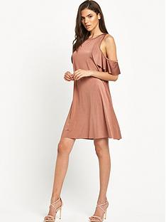 glamorous-cold-shoulder-swing-dress