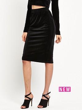 glamorous-velvet-bodycon-midi-skirt