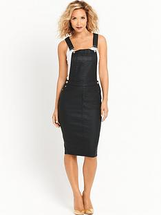 myleene-klass-coated-dungaree-dress-black