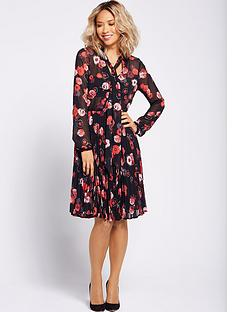 myleene-klass-pussybow-tie-pleated-dress-floral-print