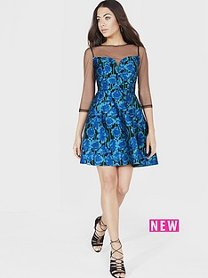 little-mistress-little-mistress-jacquard-fit-and-flare-mini-dress