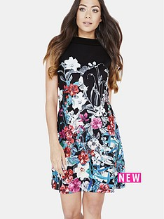 little-mistress-bouquet-print-mini-shift-dress