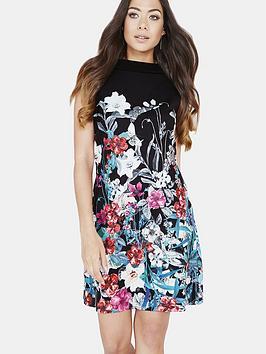 little-mistress-bouquet-print-mini-shift-dress