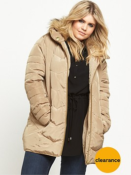 v-by-very-curve-short-padded-belted-coat-stone