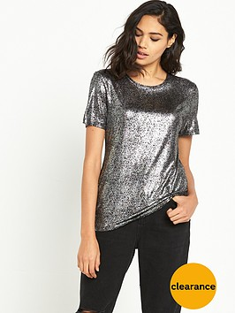 river-island-short-sleeved-foil-fitted-tee