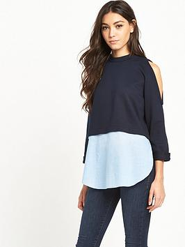 river-island-layered-cold-shoulder-jumper