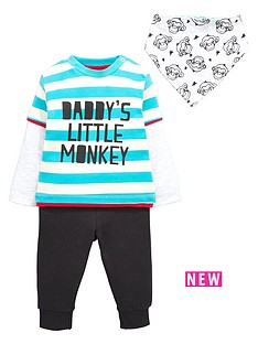 ladybird-baby-boys-long-sleeve-monkey-t-shirt-joggers-and-bib-set-3-piece