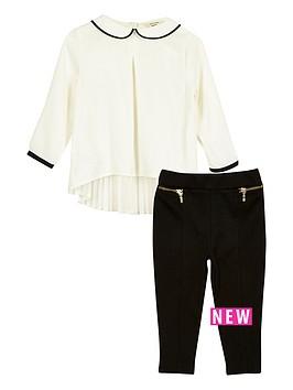 river-island-mini-girls-white-pleat-top-leggings-set