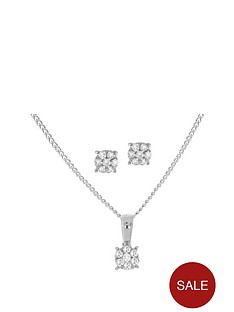 love-diamond-sterlingnbspsilver-10-point-diamond-cluster-solitaire-pendant-and-earring-set