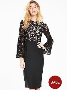 v-by-very-lace-top-midinbspdress-blacknbsp