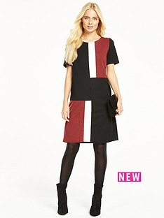 wallis-ponte-colour-block-dress
