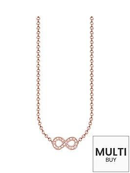thomas-sabo-sterling-silver-rose-gold-plated-diamond-set-infinity-necklacenbspplus-free-diamond-bracelet