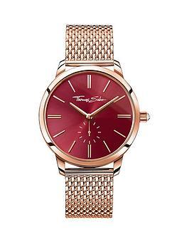 thomas-sabo-glam-spirit-red-dial-rose-tone-mesh-bracelet-ladies-watch